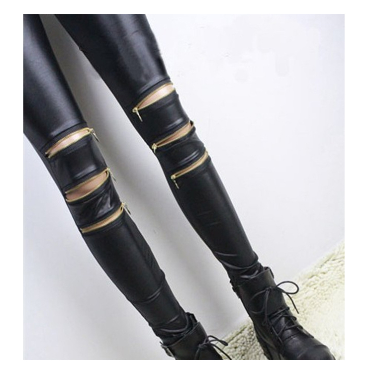 Women Leggings with three zippers patchwork leggins punk rock trousers Skinny pants black fittness new style