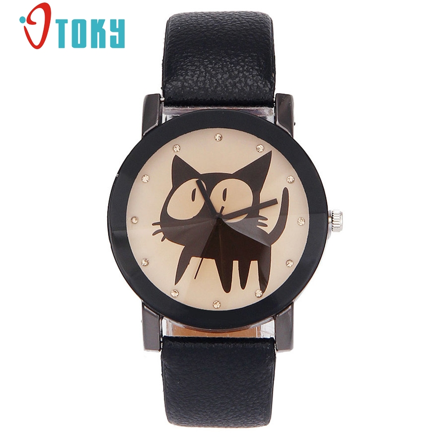OTOKY Women Casual Watch Little Cat Pattern wristwatch for Girl Quartz cartoon watch clock hours relojes #20 Gift 1pc new high quality warm winter baseball cap men brand snapback black solid bone baseball mens winter hats ear flaps free sipping