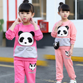 Children's clothing kids girls sets 2pcs child spring and autumn 2017 100% cotton baby girl spring twinset spring child sports