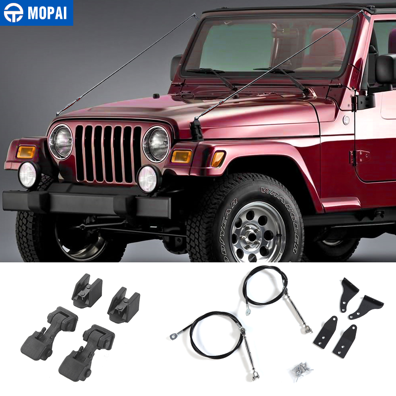 MOPAI Protective Frames for Jeep Wrangler TJ 1997 2006 Hood Latch Obstacle Eliminate Rope Limb Riser
