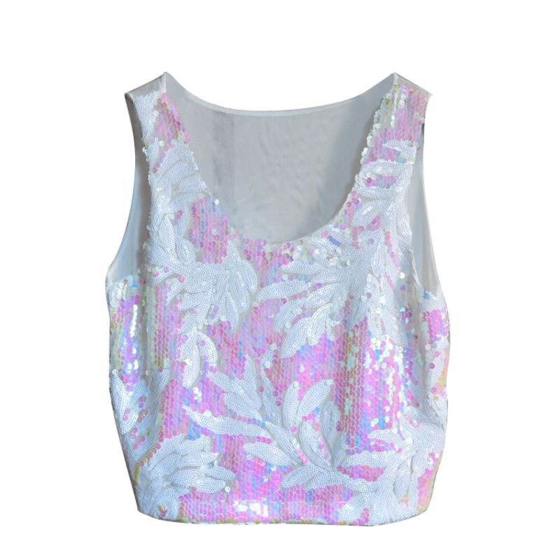 Popular Women Ethinic Boho Tank Tops Vest Crop Top Shirt Sparkling Sequin  Beach Wear Cami CV3 H2-in Tank Tops from Women s Clothing   Accessories on  ... 0244bd8c2194