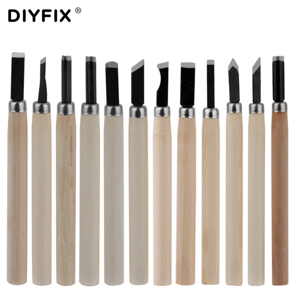 DIYFIX 12Pcs Wood Carving Hand Chisels Knife Tools Set For Woodcut Working Clay Wax Arts Craft Cutter Woodworking Hand Tools Set