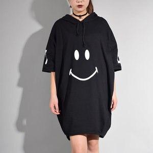 Image 3 - [XITAO] קוריאה 2017 קיץ אופנה נשי אופי הדפסת Loose שמלת נשים קצר שרוול ברדס צווארון מעל הברך שמלה CXB533