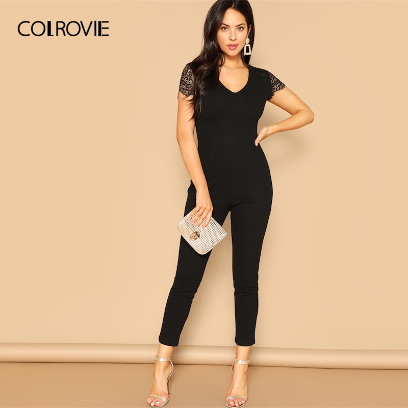 COLROVIE Black V Neck Lace Sleeve Zipper Skinny Elegant Jumpsuit Women Clothes 2019 Spring Fashion Sexy Office Ladies Jumpsuits