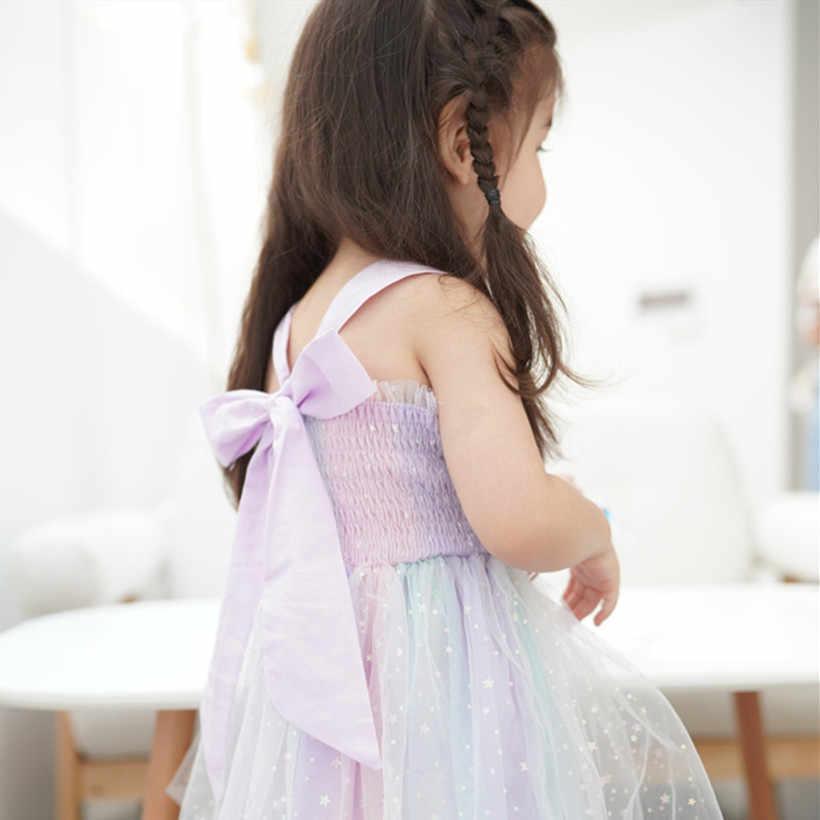 ילדים שמלות בנות בלינג כוכב ללא משענת בנות שמלת קיץ Todder שמלת קשת צבע נסיכת יום הולדת חתונה מסיבת בגדים