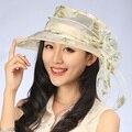 Лето Женщины hat Женская Складная Широкий Большой Брим Floppy Пляж шляпа Вс шелковый цветок Флоппи Cloche котелок Cap бесплатно доставка