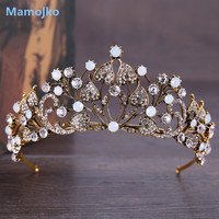 Mamojko Baroque Vintage Gold Rhinestone Leaves Bridal Wedding Crown Queen Princess Pageant Party Bridesmaids Hair Accessories
