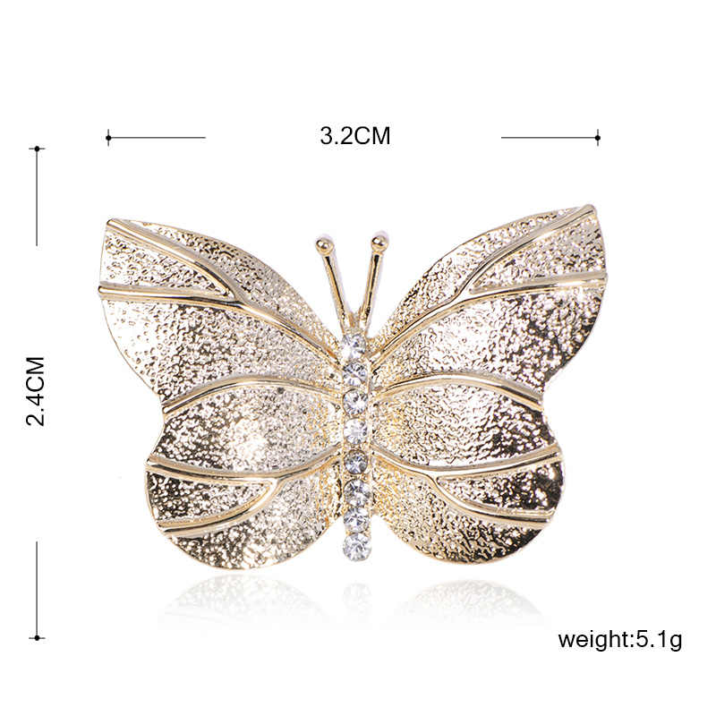 Женская ювелирная брошь для одежды Blucome, брошка золотого цвета в форме бабочки, с инкрустацией, ювелирное украшение для шарфа, свитера или куртки, украшение для одежды, 2019