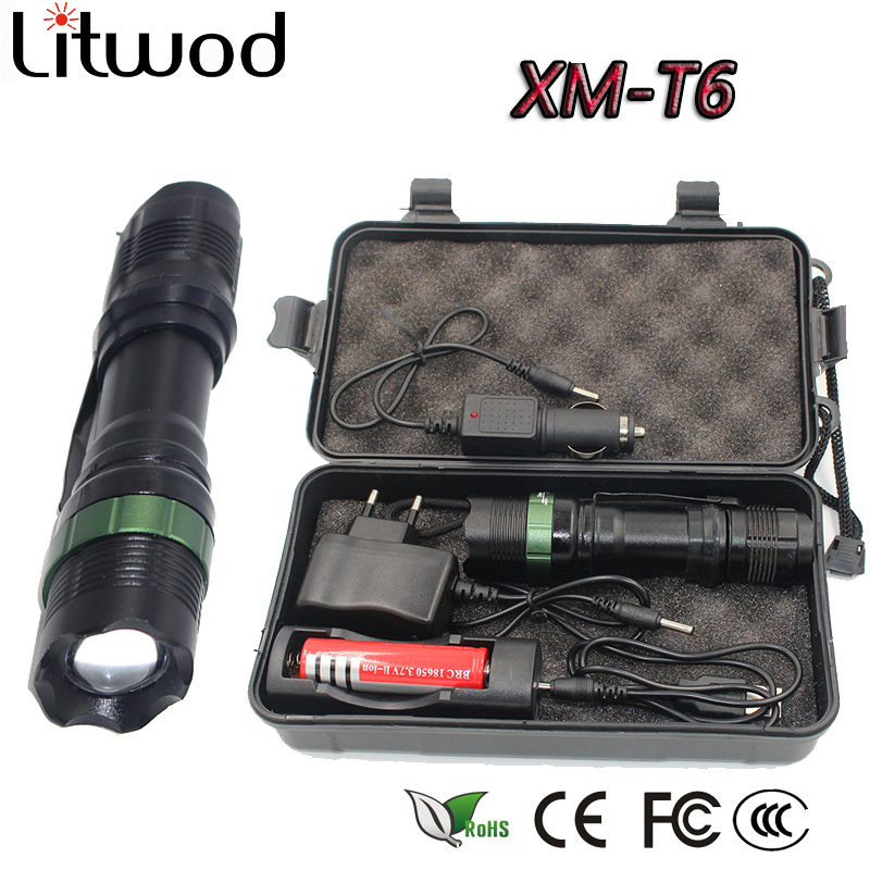 Litwod Z30CK91 Aluminum Powerful Led Flashlight Adjustabl Torch Waterproof Tactical 18650 Rechargeable LED Light Torch for