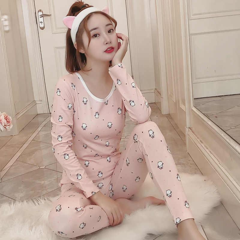 Winter Womens Pajamas Sets Long Sleeve Suit Cartoon Girls Sexy Sleepwear  Women s Pijamas Suit Home Clothes c8976a9d0