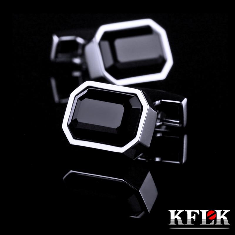 KFLK 2020 Luxury shirt cufflinks for men's Brand cuff buttons Black Crystal cuff links High Quality small abotoaduras Jewelry brand cufflinks for mens cufflinks for mens cufflinks for mens brand - title=