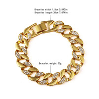 2016 New Fashion Gold Fish Iced Out Hip Pop Zircon Chain Men Bracelet For Party Performance