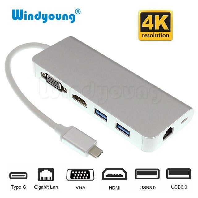 Thunderbolt 3 USB 3.1 USB-C Loại C Hub với 4 K 30 hz HDMI VGA 1000 M Gigabit RJ45 2 Port USB 3.0 Hub Loại C PD Sạc Adapter