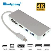 Thunderbolt 3 USB 3,1 USB-C Тип C концентратор с 4 K 30 Гц HDMI VGA 1000 Gigabit RJ45 2 Порты и разъёмы USB 3,0 хаб Тип C зарядка PD адаптер