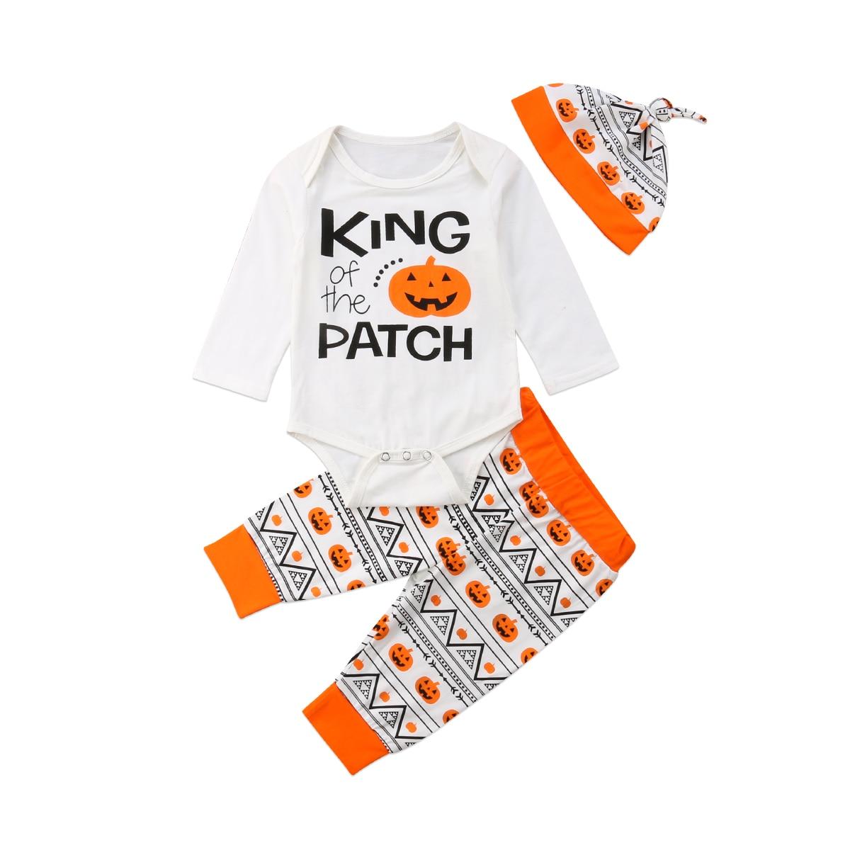 3PCS Halloween Baby Boys Clothes Pumpkin Long Sleeve Romper Jumpsuit Long Pants Hats Outfits Set