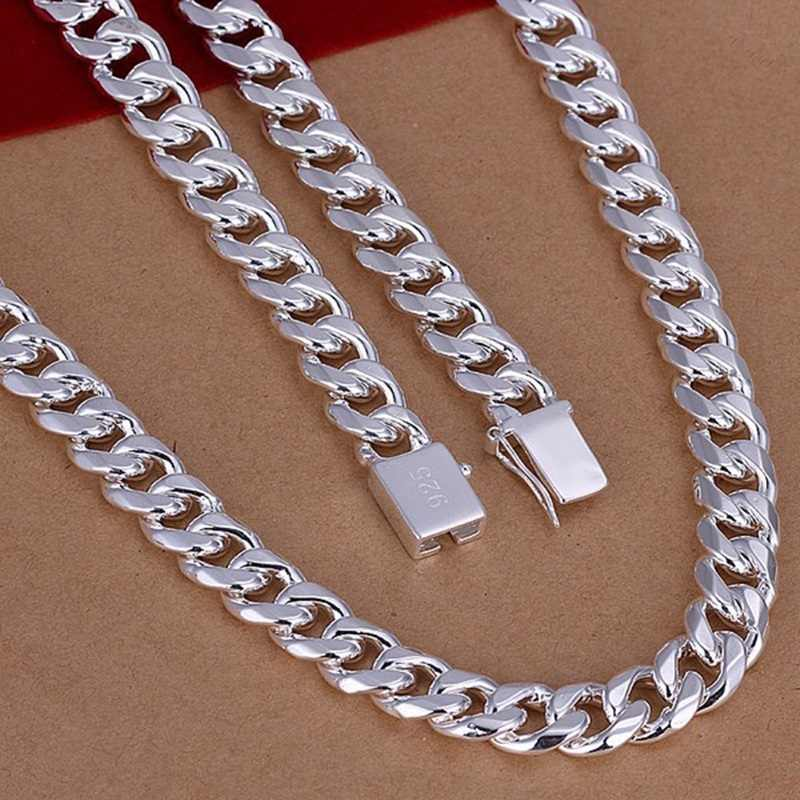 OMHXZJ Wholesale European Man Party Wedding Gift Wide Silver color Alloy precious metal 925 Sign logo Chain Necklace NA187
