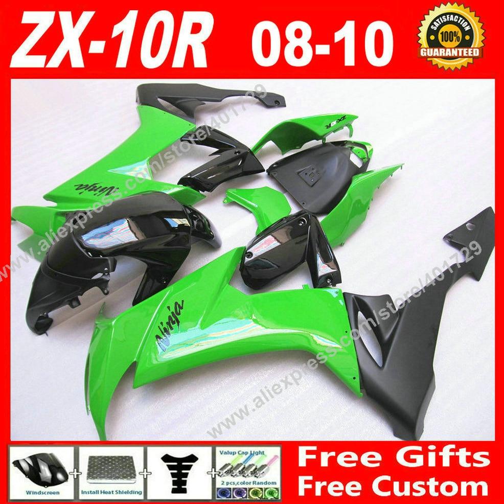 Горячая распродажа Обтекатели, пригодный для мотоциклов для Kawasaki ниндзя ZX-10r с 08 09 10 Новый зеленый черный ZX10R 2008 2009 2010 ZX10R обтекатель комплект AS04