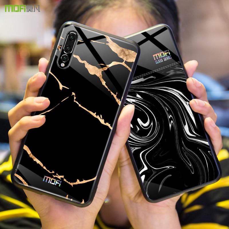 Per Huawei P20 della copertura di caso per Huawei p20 pro caso Mofi duro vetro temperato posteriore della copertura capa coque di marmo a grana di flusso onda P20pro caso