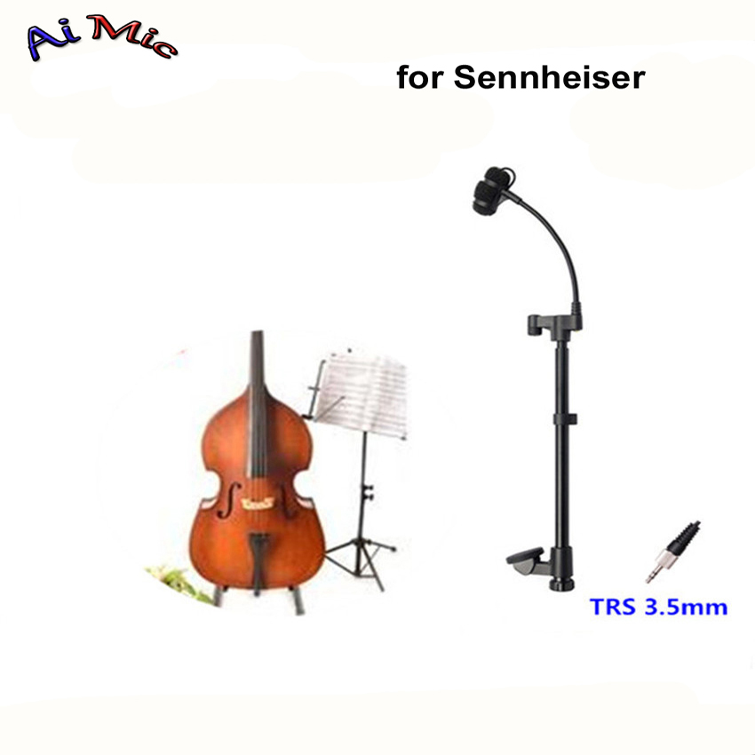 лучшая цена Top Gooseneck Instrument Microphone Double Bass Microfone Transmitter with TRS 3.5mm Jack for Sennheiser Wireless System Mic