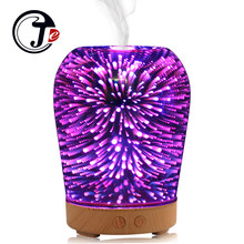 3D Glass Ultrasonic Air Humidifier Aroma Diffuser Essential Oil Diffuser  with Colorful  Night Light Aromatherapy Humidificador diffuserlove 500ml humidifier aromatherapy essential oil diffuser aroma diffuser humidificador with 7 color led night light