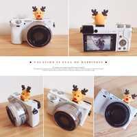 Neue 3D Cartoon Weihnachten deer Kamera Taschenlampe Blitzschuh blitzschuh abdeckung Für Canon Nikon Fujifilm Samsung Panasonic Leica Olympus