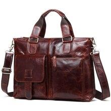 TRASSORY Crazy Horse Genuine Leather Retro Men's Bag Vintage Business Briefcase Crossbody Shoulder Briefcase for Men