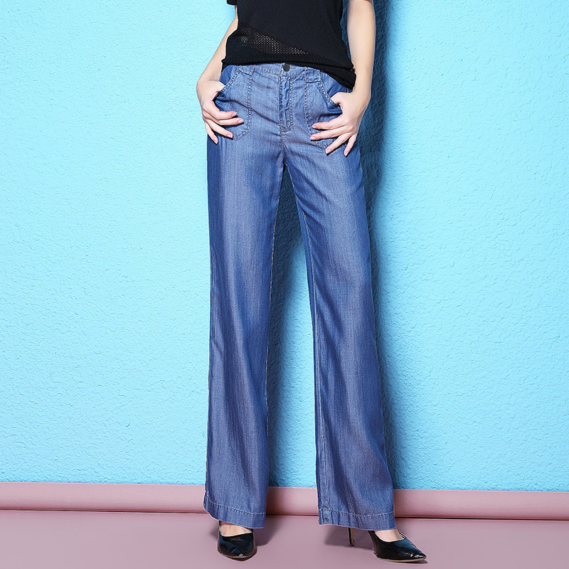 Autumn new stylish white collar worker jeans vertical lyocell fabric wide leg jeans large size loose
