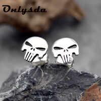 Onlysda-pendiente con broche de calavera para hombre, 316L, acero inoxidable, el Punisher, punk, motorista, joyería, regalo para fiesta, ES105