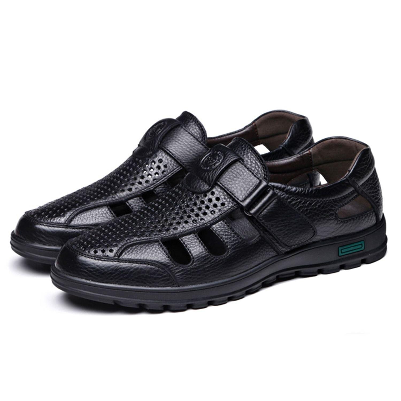 Abdb Cuero Verano sandalias Black Estilo Clásicos Retro Gladiador Transpirables Zapatos Fretwork M Suave Para Hombre De Genuino Fondo brown Pesca E1EwqnUZrd
