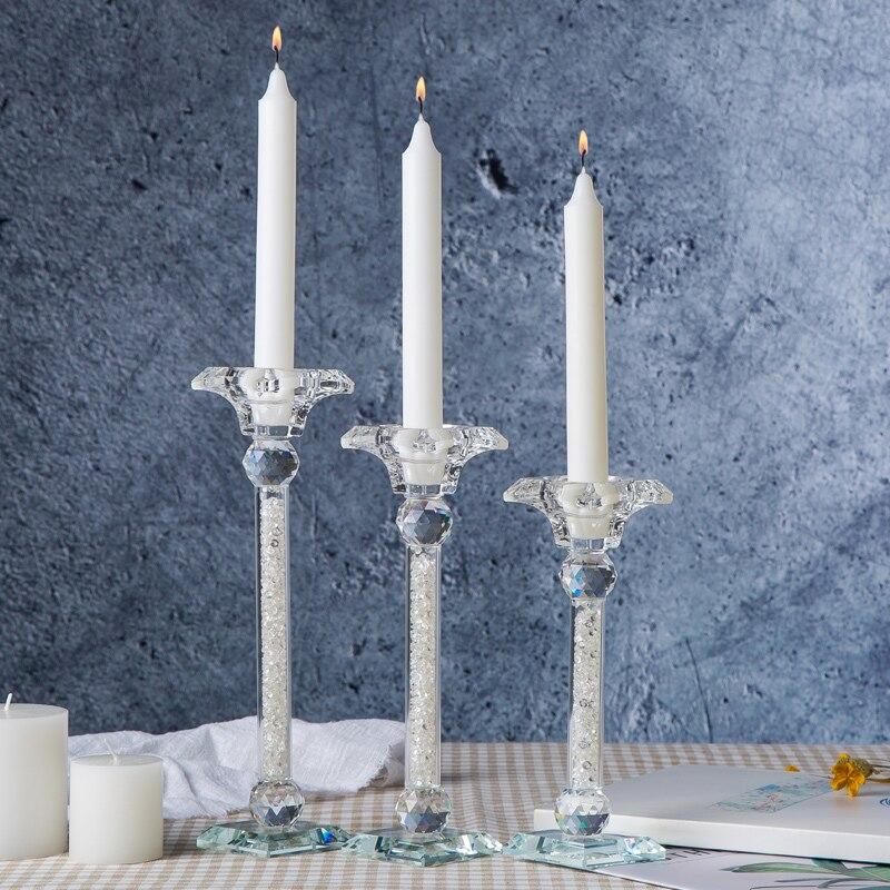 Nowoczesne akcenty elegancki kryształ dekoracja do domu blat szklana naklejka świeczniki para w Świeczniki od Dom i ogród na  Grupa 3