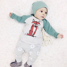 2016 New 3Pcs Baby Boys Clothes Cartoon Fox Printed Tops +cap+Top+ XO Pants Sets 2019
