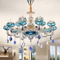 New Blue Crystal Chandelier European Chandeliers Lighting Living Room Bedroom Restaurant Silver Chandeliers KTV Bar Crystal Lamp