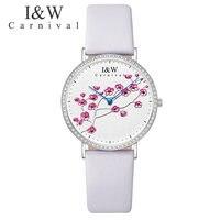 Швейцарский импортный КВАРЦ ДВИЖЕНИЕ женские часы карнавал люксовый бренд часы для женщин сапфир из натуральной кожи reloj hombre C3002 2