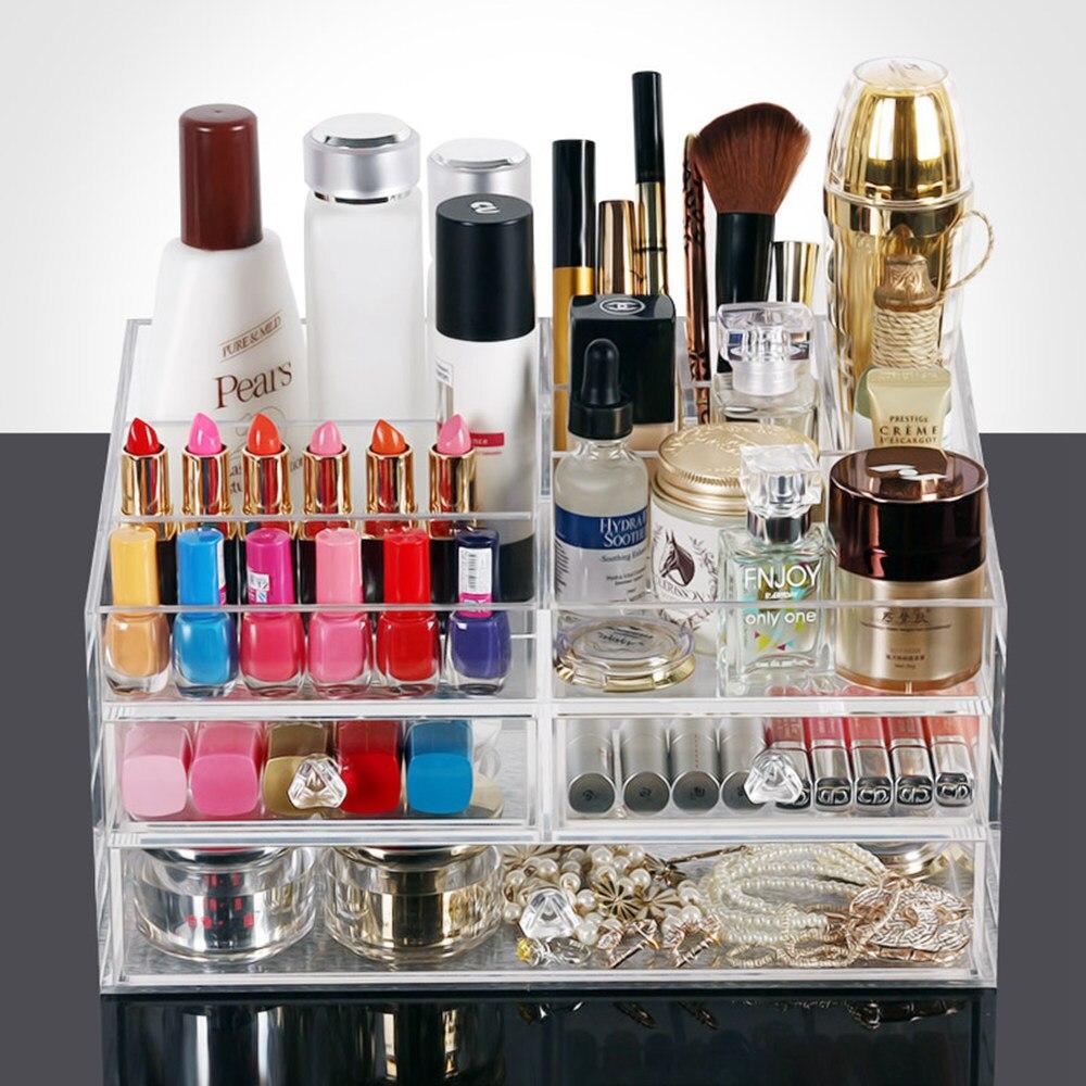 Acrylique maquillage organisateur en plastique Transparent tiroir cosmétiques conteneur bureau bijoux boîte de rangement spécial cadeau de noël