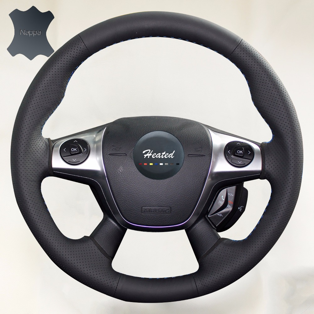 Luxury hand sewing nappa leather auto steering wheel cover for ford focus 3 2012 2014