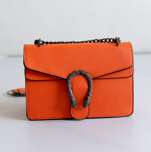 2017 New Small Square Package Snake Head Decoration Chain Shoulder Bag Messenger Packet Retro Fashion Women