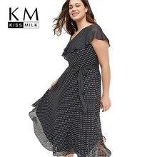 Kissmilk Plus Size Women Dresses Sling Strapless Shoulders Ruffled Waist Tie Dress