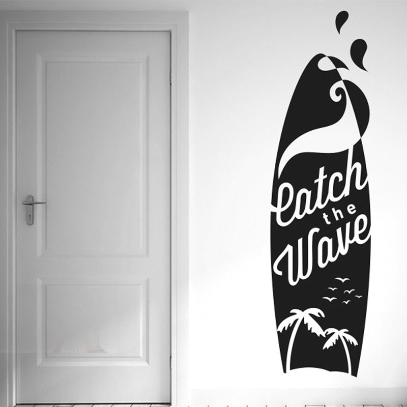 Catch The Wave Surf Board Wall Stickers Vinyl Art Decals Coco Seagull Silhouette Sports Decal For Bedroom Waterproof YD03 in Wall Stickers from Home Garden