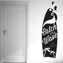 Catch The Wave Surf Board Wall Stickers Vinyl Art Decals Coco Seagull Silhouette Sports Decal For Bedroom Waterproof YD03 цена
