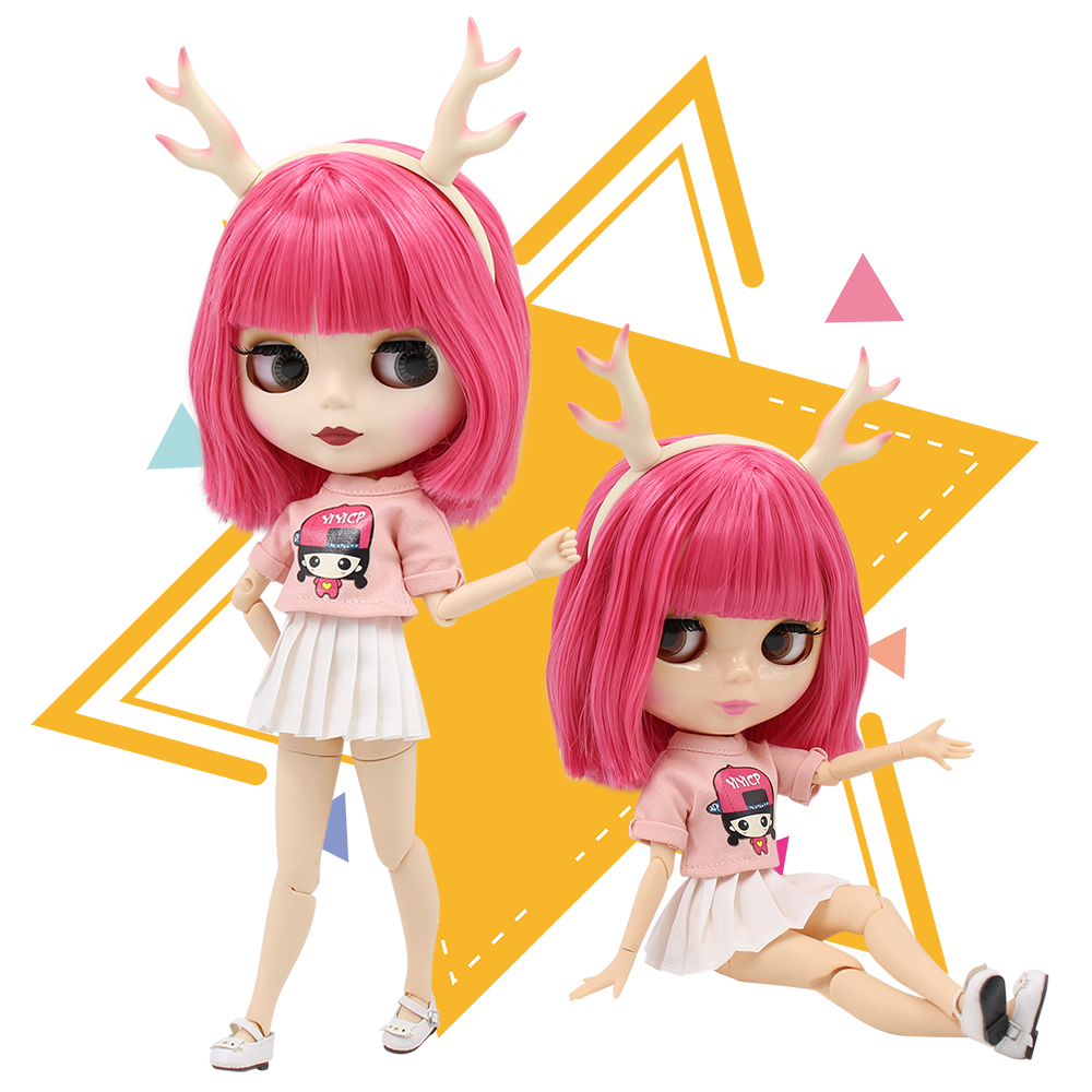 ICY factory blyth doll short pink hair with bangs white skin joint body elk headband shirt