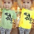 Bebê roupas de bebê recém-nascido crianças bebê meninas Zebra t-shirt + calças roupas crianças roupas tira bonito