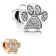 Cor de prata 1pc rosa ouro cão pata talão encantos se encaixa europeu pandora charme pulseiras a548