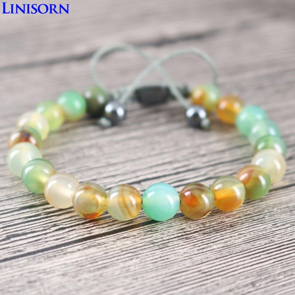 LINISORN Summer Bohemia style Stones Women Wrap Bracelets Hematite Beaded Handmade Braided Wife Present