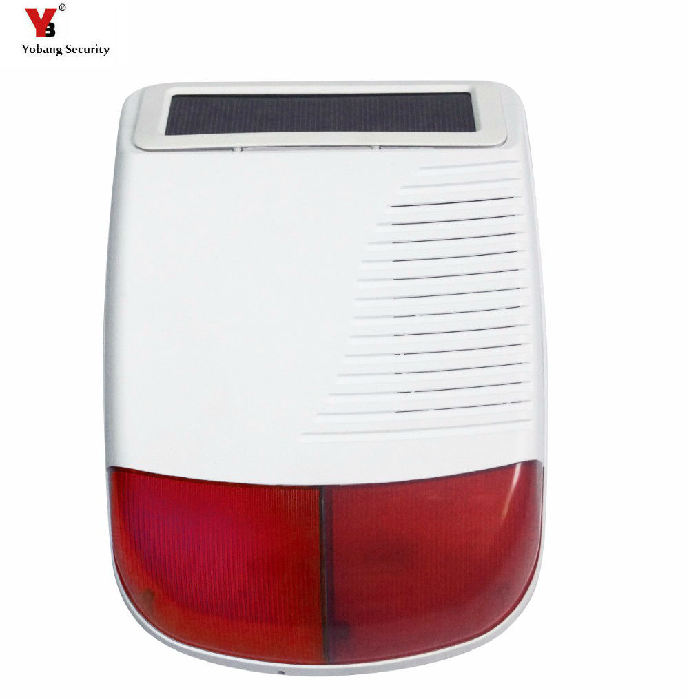 Yobang Security Wireless Outdoor Solar Siren For Alarm System Solar Powered Red Light Strobe Siren Use