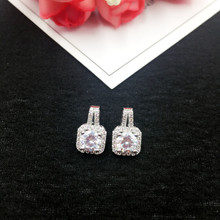 Купить с кэшбэком Wholesale 925 Silver Needle Square Zircon Earring Trendy Geometric Stud Earrings for Women Lady Fashion Jewellery Brincos