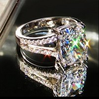 Victoria Wieck Women Engagement Jewelry Cushion Cut 3ct Topaz Simulated Diamond 10KT White Gold Filled Wedding