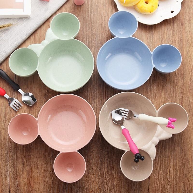 3Pcs Baby Bamboo Tableware Solid Feeding Dishes Children Food Dinnerware Set