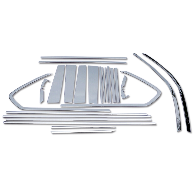 2015 2016 2017 For Toyota Land Cruiser Prado FJ150 2010-2018 Stainless Steel Window Sill Trim With Center Pillar 24pcs/set stainless steel full window with center pillar decoration trim car accessories for hyundai ix35 2013 2014 2015 24