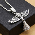 S925 Sterling Silver Jewelry Retro Thai Silver Cross Pendants Waiting Angel creative bell pendant