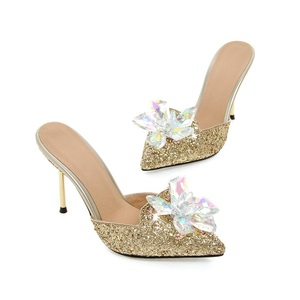 Image 3 - MORAZORA Summer sandals women shoes rhinestone thin high heels shoes 9.5cm party shoes elegant pointed toe large size 34 43